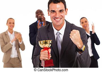 mądry, drużyna, współzawodnictwo, handlowy, zwycięski