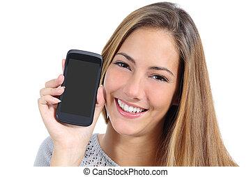 mądry, dziewczyna, odizolowany, sprytny, telefon, pokaz, ekran, czysty