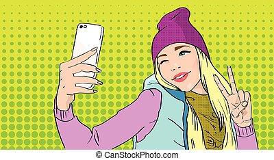 mądry, dziewczyna, pokaz, gest, palec, telefon, selfie, dwa...