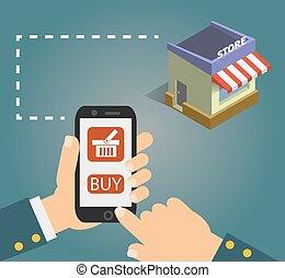 mądry, e-handel, screen., concept., telefon, kupować, projektować, płaski, holing, ręka, guzik