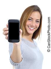 mądry, kobieta, ładny, szczęśliwy, telefon, pokaz, ekran, czysty