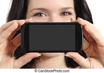 mądry, kobieta, telefon, pokaz, ekran, czysty, zabawny