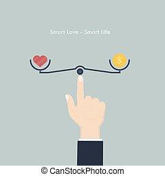 mądry, serce, miłość, znak, pieniądze, życie, pieniądz, ręka, icon., concept., wektor, waga, ludzki, illustration., praca