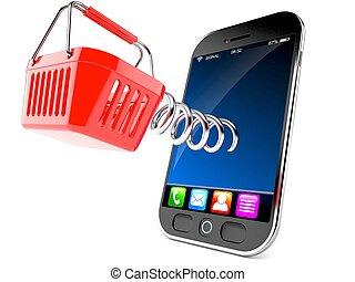 mądry, telefon, kosz, zakupy