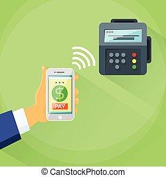 mądry, telefon, ruchomy, wpłata, urządzenie, nfc, terminal,...