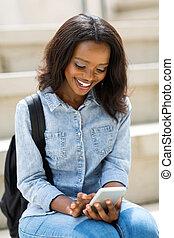 mądry, uniwersytet, telefon, student, afrykanin, używając