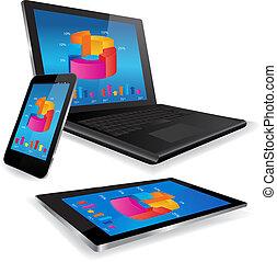 mądry, wykres, tabliczka, handlowa głoska, laptop