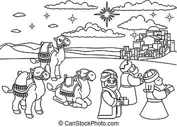mądrzy mężczyźni, scena, gwiazdkowy nativity, rysunek