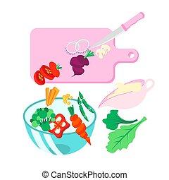 mąka., wegetarianin, tło, prepering, veggie, świeży, nóż, wektor, mąka, ilustracja, deska, mocny, style., sos, gotowanie, sos, sałata, szklany puchar, warzywa, vegan, dzieciska jadło, przelotny, jadło., cięty, pokrojony, biały, veganize, vegie, boat.