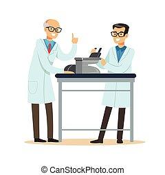 mężczyźni, dwa, praca badawcza, radosny, mikroskop, miejsce pracy, naukowcy