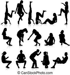 mężczyźni, illustration., posiedzenie, poza, tło., sylwetka, wektor, czarnoskóry, biały, kobiety