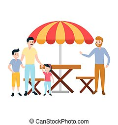 mężczyźni, piknik, dzieciaki