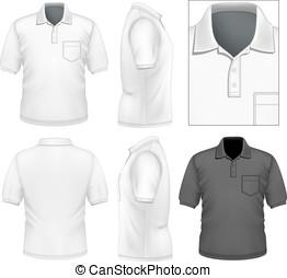 mężczyźni, projektować, polo-shirt, szablon