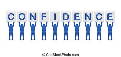 mężczyźni, słowo, confidence., dzierżawa