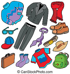 mężczyźni, strój, zbiór