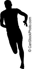 mężczyźni, sylwetka, tło, sprint, biały, biegacze