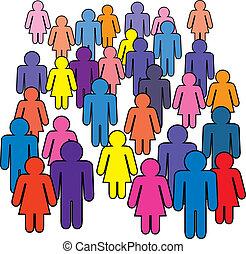 mężczyźni, tłum, kobiety