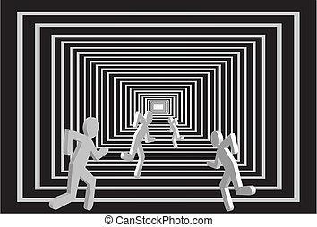 mężczyźni, tunnel., ludzie, competition.