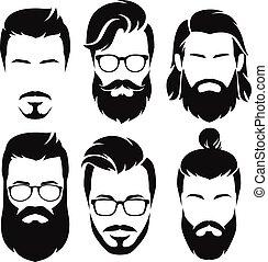 mężczyźni, wektor, collection., hipsters, illustration., ...