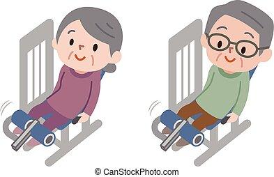 mężczyźni, wykonując, stosowność, wykonuje, starsi kobiety