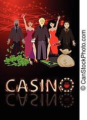 mężczyźni, zwycięstwo, ręki do góry, kasyna, i, dużo, od, dolar