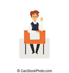 męski student, posiedzenie na kasetce, w, klasa, z, riswd, ręka, uczeń, badając, na, szkoła, kolegium, wektor, ilustracja