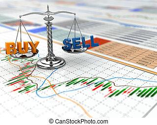měřítko, finanční machinace, concept., graph., obchod, kmen