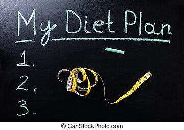 měřice pásek, před, můj, držet dietu, plán, text
