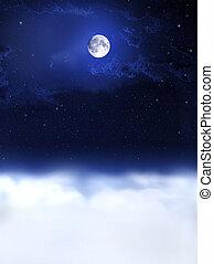 měsíc, lehký, a, večer, dreams...