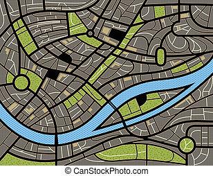město, abstraktní, ilustrace, mapa