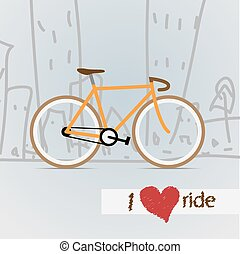 město, bicycle., vector.
