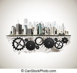 město, cogwheel, mechanismus