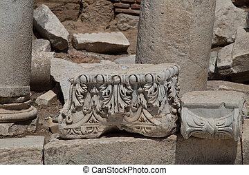 město, ephesus, starobylý, řád, stavitelský
