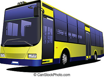město, illu, zbabělý, vektor, bus., coach.