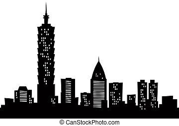 město, karikatura, taipei