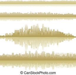 město, městské siluety