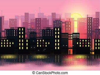 město, městské siluety, -, vektor, ilustrace