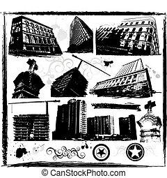 město, městský, architektura, budova