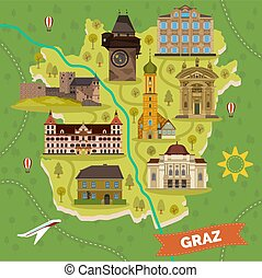 město, mapa, graz, orientační bod, sightseeing