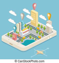 město, mapa, isometric, navigace, gps