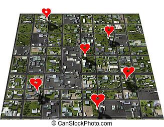 město, mapa, umístění, placemark, oblíbený, bydliště, fix