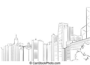 město, mrakodrap, skica, názor, cityscape, městská silueta