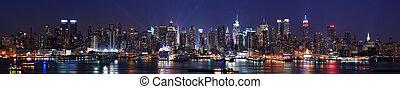 město, panoráma, městská silueta, york, čerstvý, manhattan
