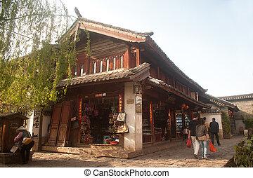 město, poloha, yunnan, dějinný, dědictví, společnost,...