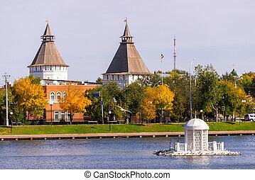 město, pověst, centrum, jezero, starobylý, labuť, russia., rybník, astrakhan