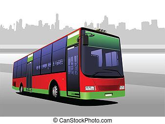 město, red-green, vektor, bus., coach.