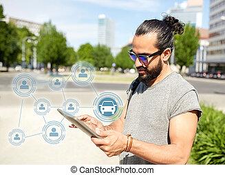 město, rozdělající, tabulka, vůz, app, pc, pouití, voják