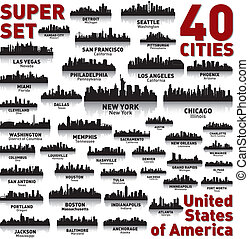 město, sjednocený, neuvěřitelný, set., městská silueta,...