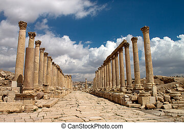 město, starobylý, jerash., gera, jordánsko, greco- římský, troska