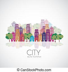 město, stavení, silhouettes